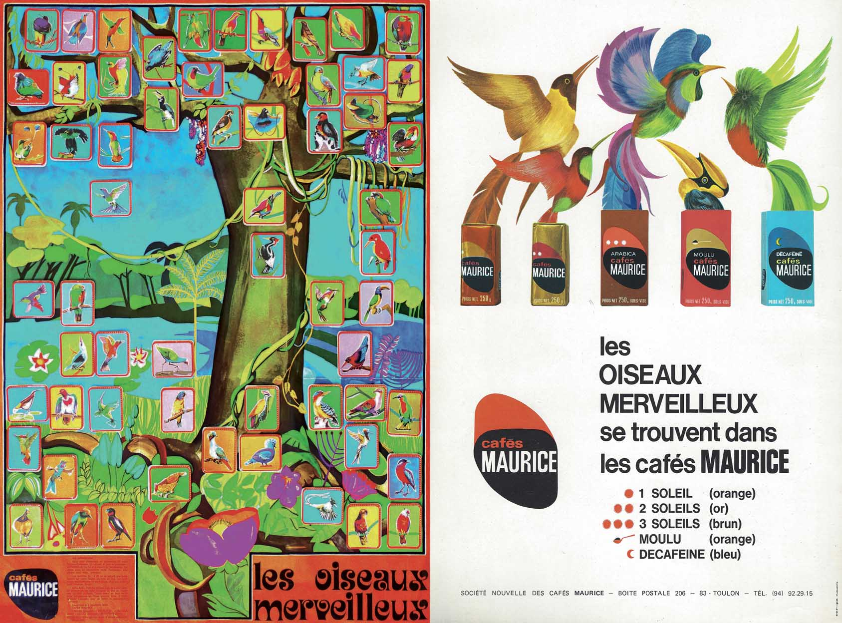 Oiseaux merveilleux annonces Cafés Maurice