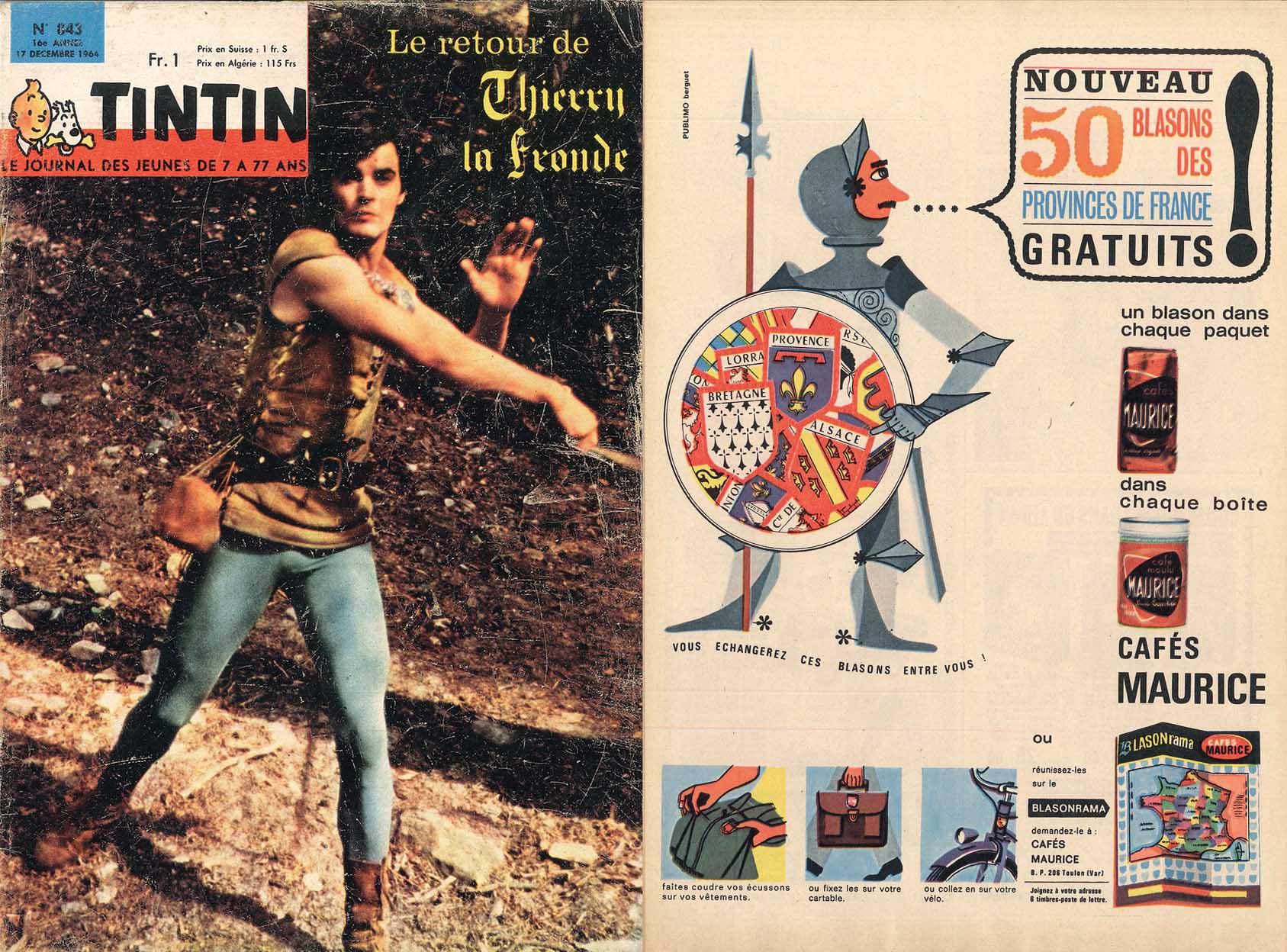 Tintin annonces Cafés Maurice