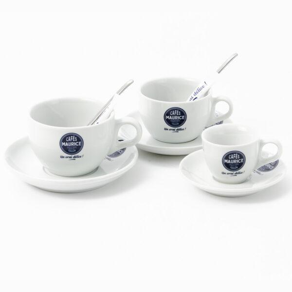 trois tasses : Latte Barista, Expresso Barista, Cappuccino Barista