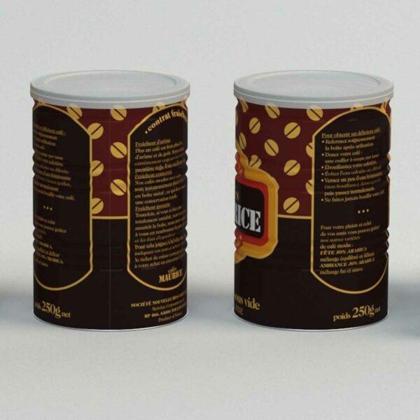Boîte en métal pour la conservation des Cafés Maurice