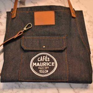 tablier en jean denim Cafés Maurice Toulon 83